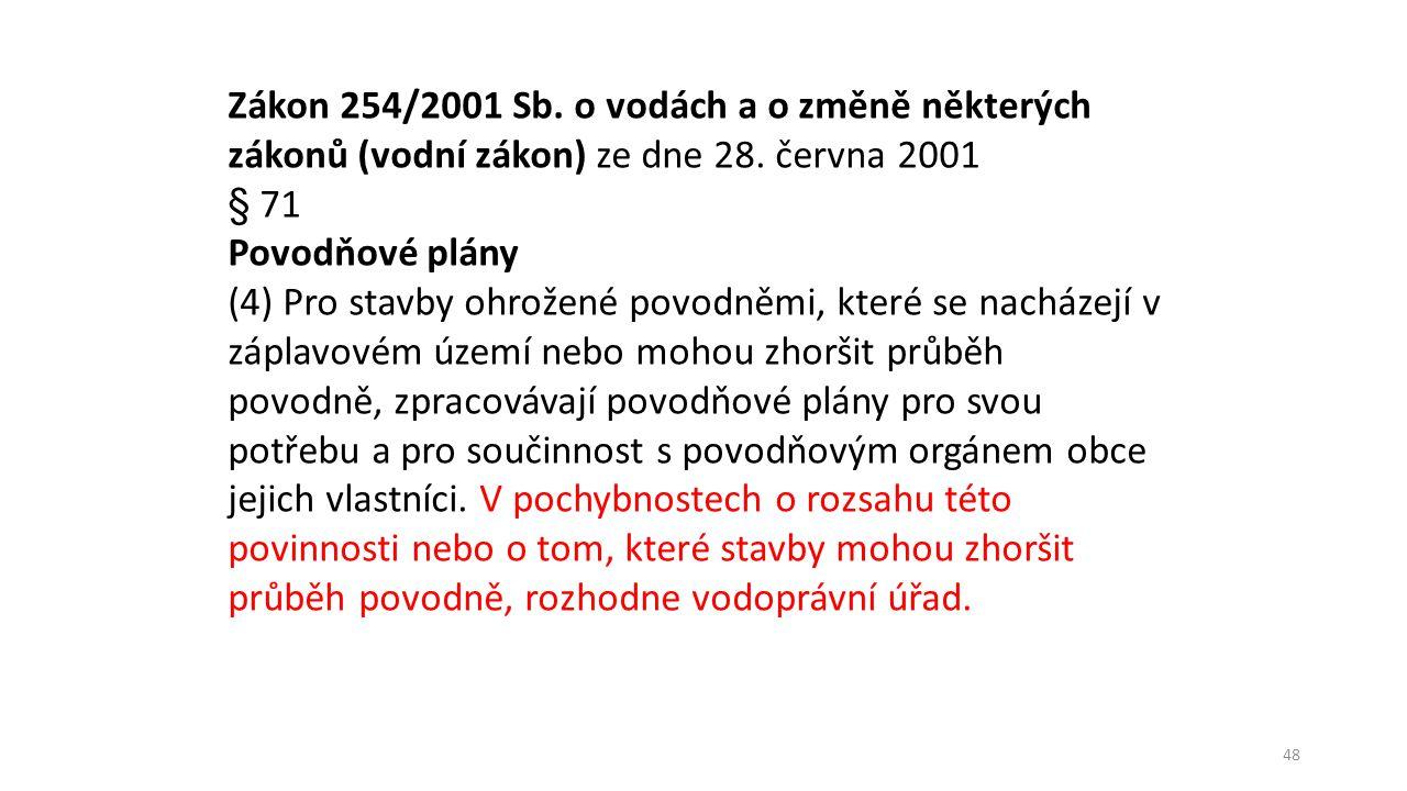 Zákon 254/2001 Sb. o vodách a o změně některých zákonů (vodní zákon) ze dne 28. června 2001