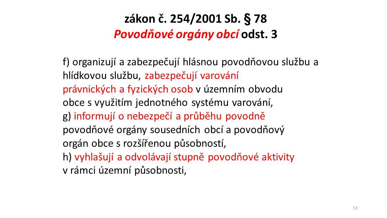 Povodňové orgány obcí odst. 3