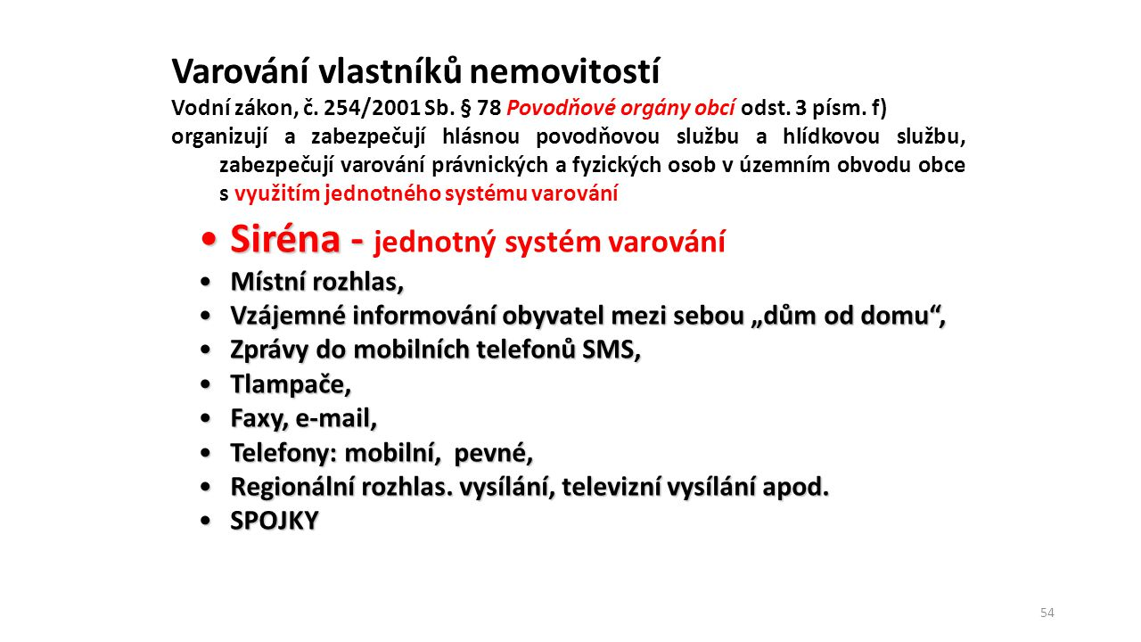 Siréna - jednotný systém varování