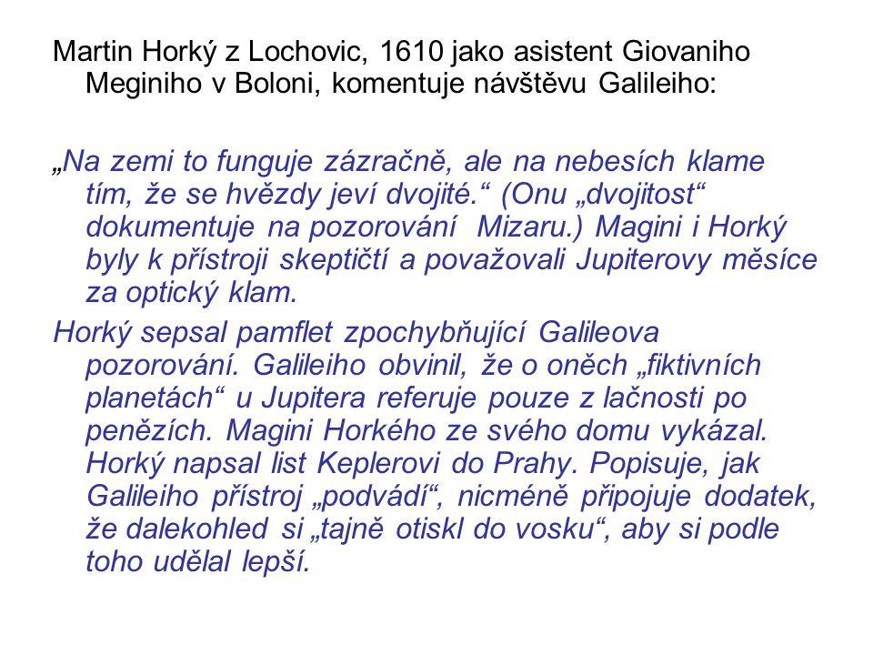 Martin Horký z Lochovic, 1610 jako asistent Giovaniho Meginiho v Boloni, komentuje návštěvu Galileiho: