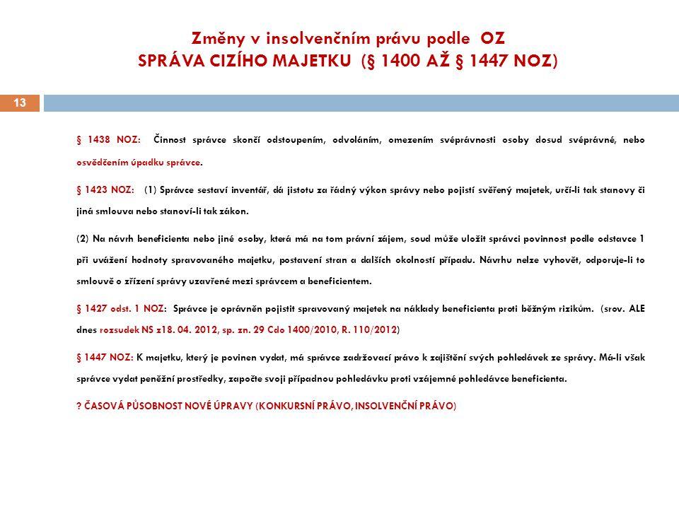 Změny v insolvenčním právu podle OZ SPRÁVA CIZÍHO MAJETKU (§ 1400 AŽ § 1447 NOZ)