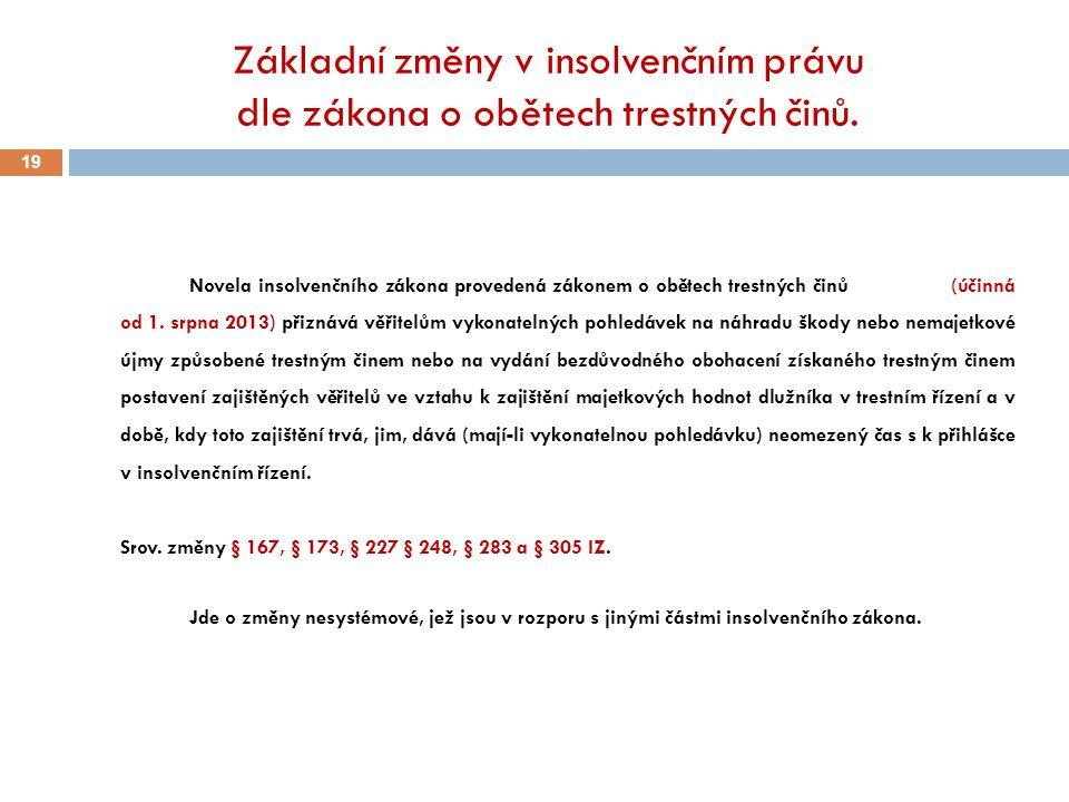 Základní změny v insolvenčním právu dle zákona o obětech trestných činů.