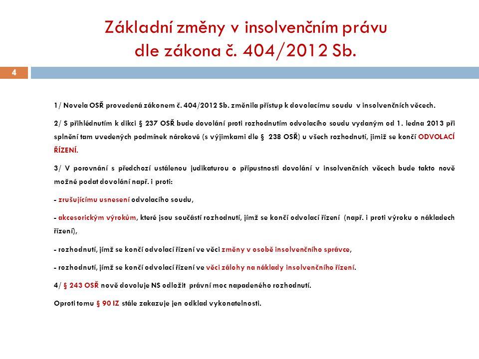 Základní změny v insolvenčním právu dle zákona č. 404/2012 Sb.