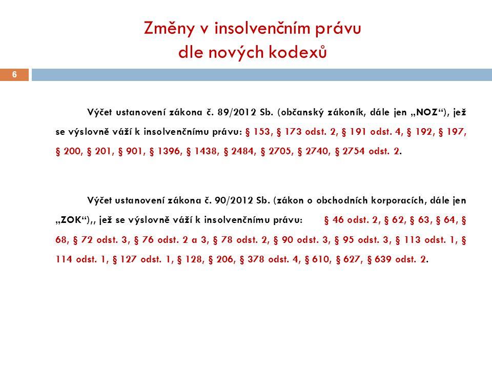 Změny v insolvenčním právu dle nových kodexů