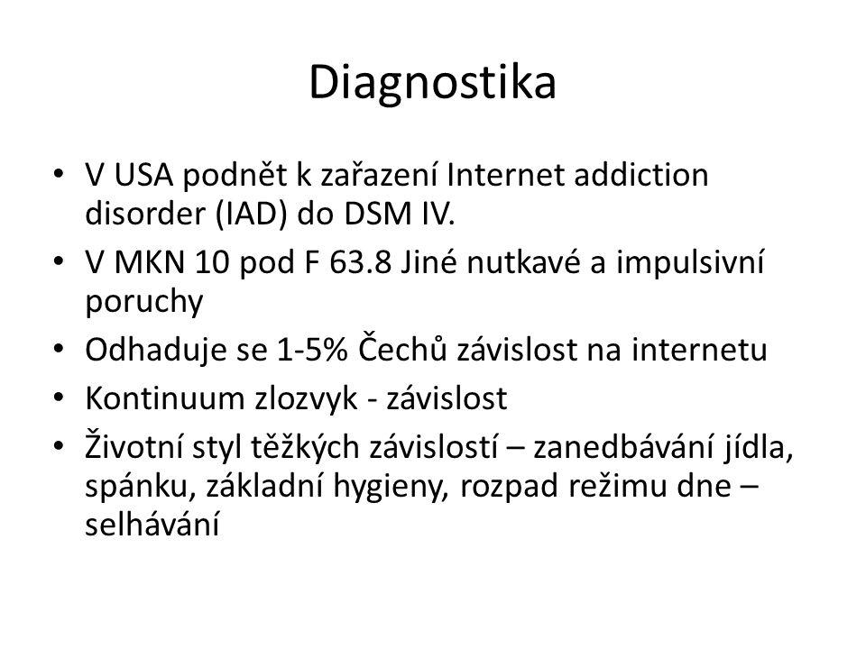 Diagnostika V USA podnět k zařazení Internet addiction disorder (IAD) do DSM IV. V MKN 10 pod F 63.8 Jiné nutkavé a impulsivní poruchy.