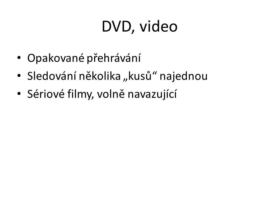 """DVD, video Opakované přehrávání Sledování několika """"kusů najednou"""