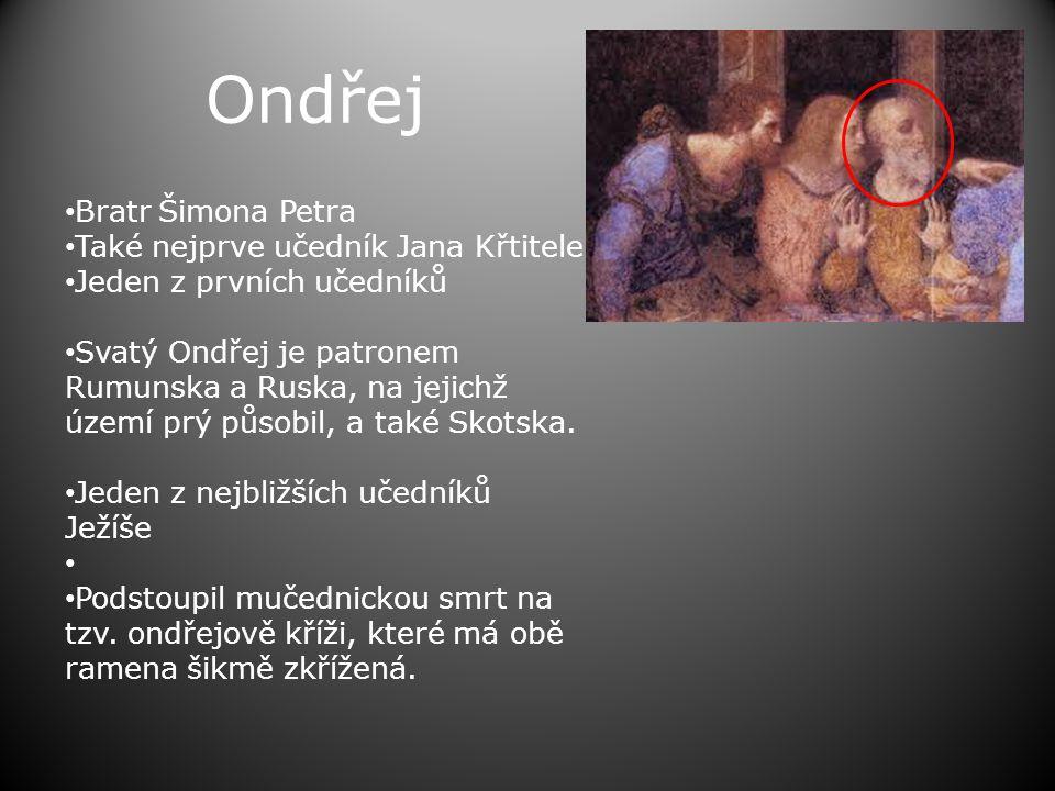 Ondřej Bratr Šimona Petra Také nejprve učedník Jana Křtitele