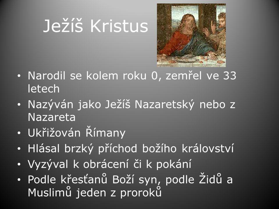 Ježíš Kristus Narodil se kolem roku 0, zemřel ve 33 letech