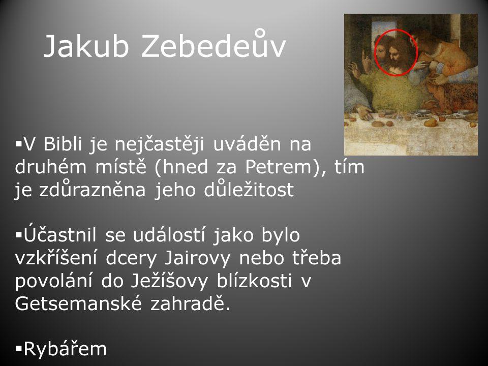 Jakub Zebedeův V Bibli je nejčastěji uváděn na druhém místě (hned za Petrem), tím je zdůrazněna jeho důležitost.