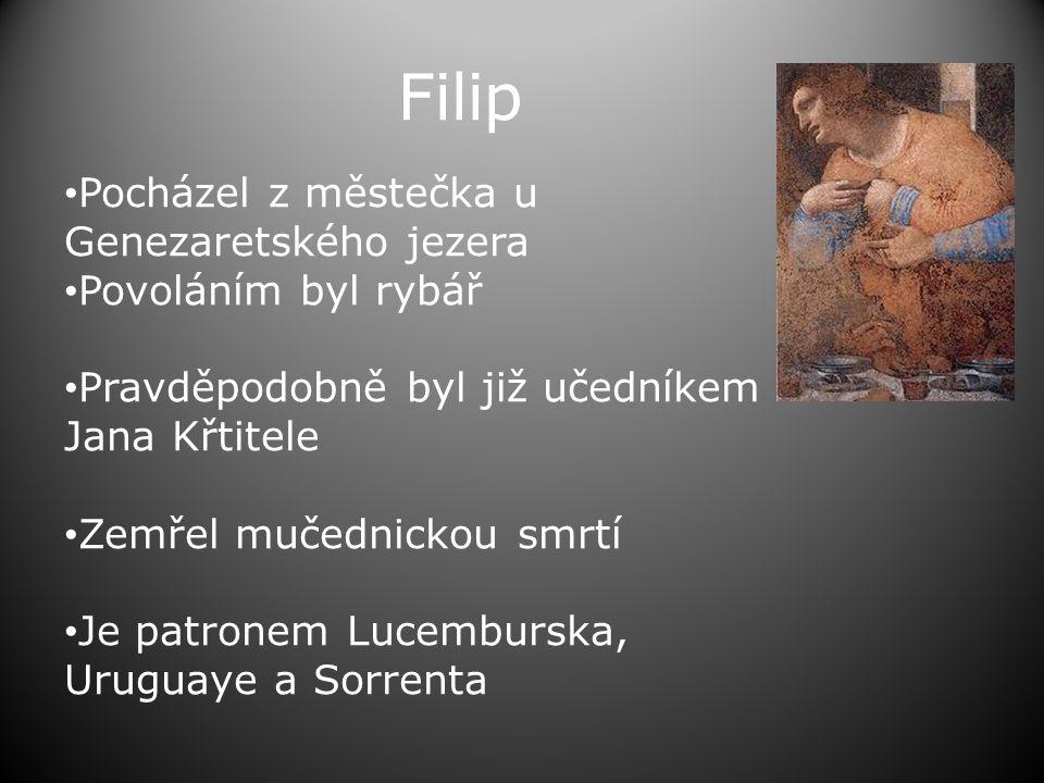 Filip Pocházel z městečka u Genezaretského jezera Povoláním byl rybář