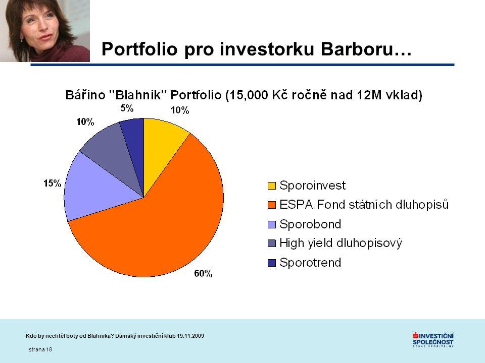 Portfolio pro investorku Barboru…