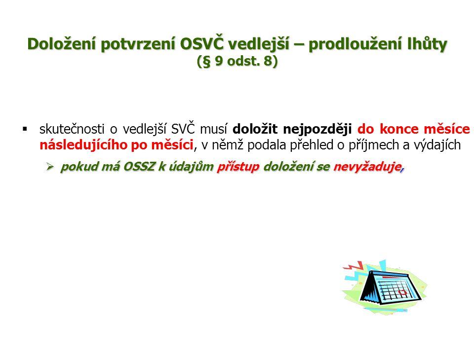 Doložení potvrzení OSVČ vedlejší – prodloužení lhůty (§ 9 odst. 8)
