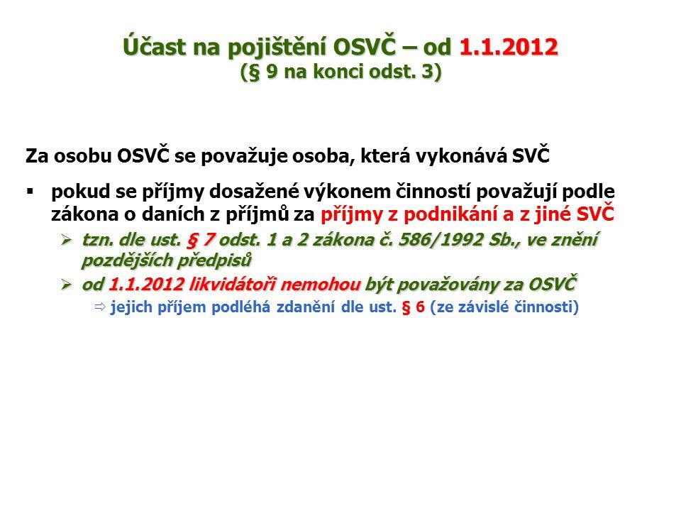 Účast na pojištění OSVČ – od 1.1.2012 (§ 9 na konci odst. 3)