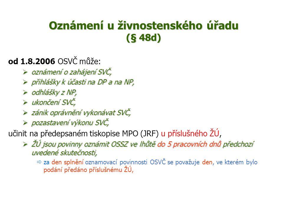 Oznámení u živnostenského úřadu (§ 48d)