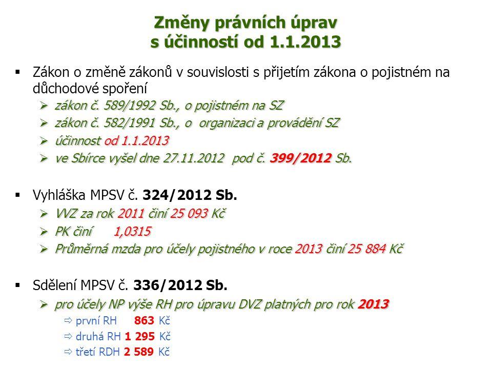 Změny právních úprav s účinností od 1.1.2013