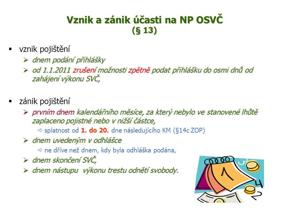 Vznik a zánik účasti na NP OSVČ (§ 13)