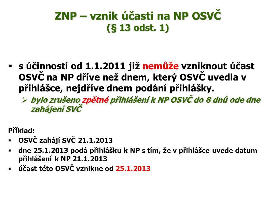 ZNP – vznik účasti na NP OSVČ (§ 13 odst. 1)