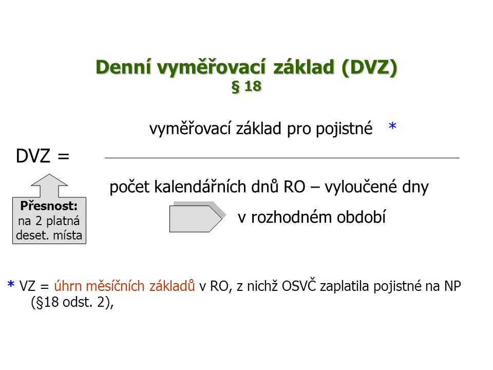 Denní vyměřovací základ (DVZ) § 18