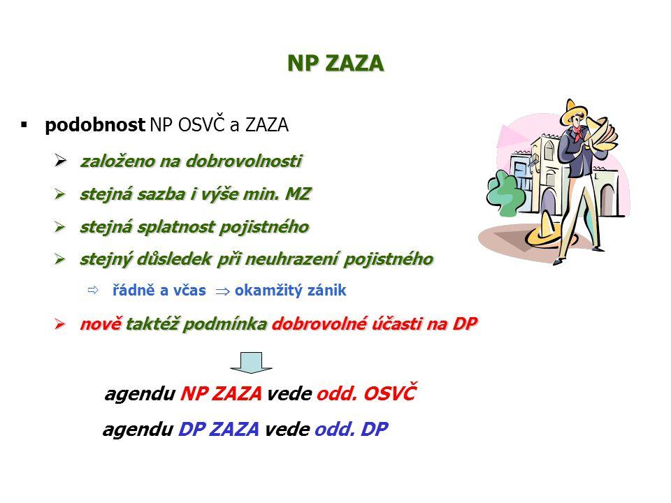 NP ZAZA podobnost NP OSVČ a ZAZA založeno na dobrovolnosti