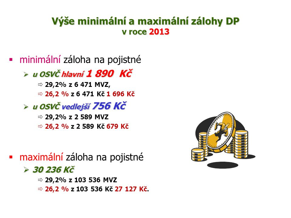 Výše minimální a maximální zálohy DP v roce 2013