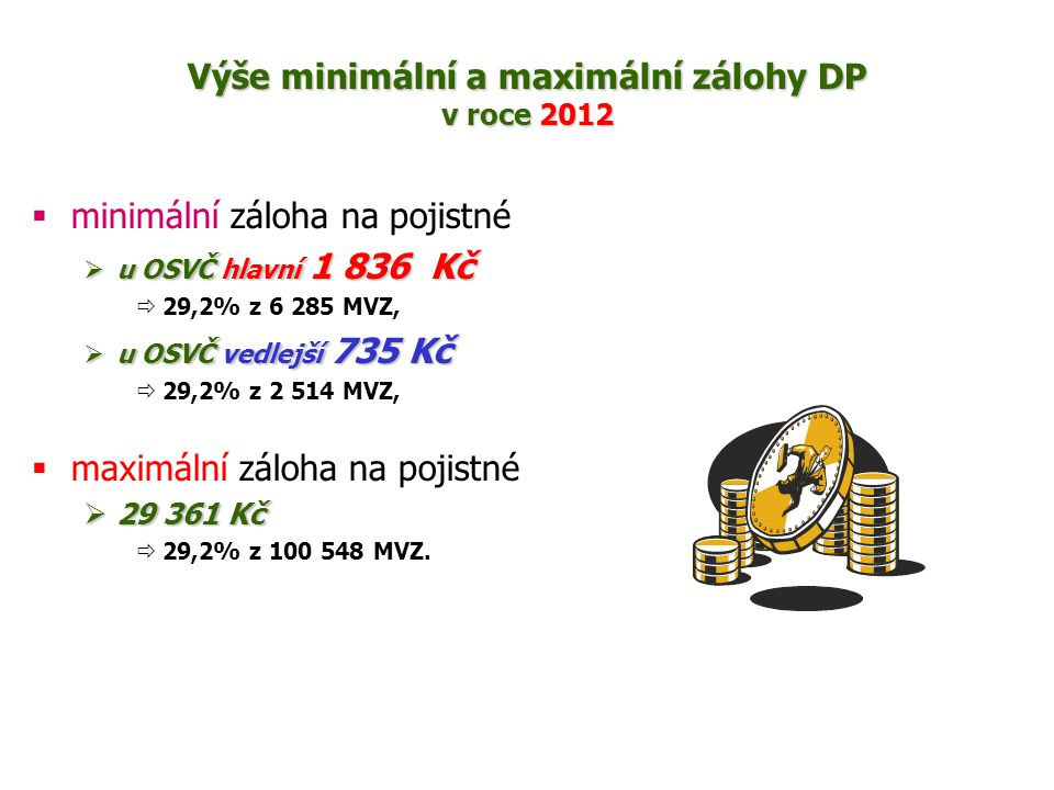 Výše minimální a maximální zálohy DP v roce 2012