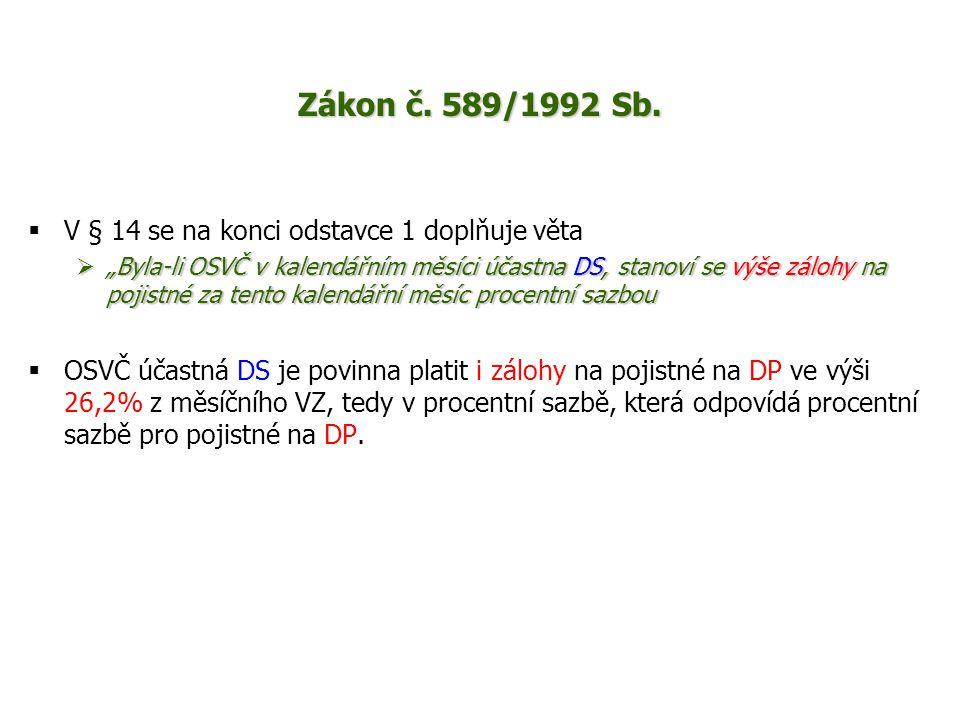 Zákon č. 589/1992 Sb. V § 14 se na konci odstavce 1 doplňuje věta