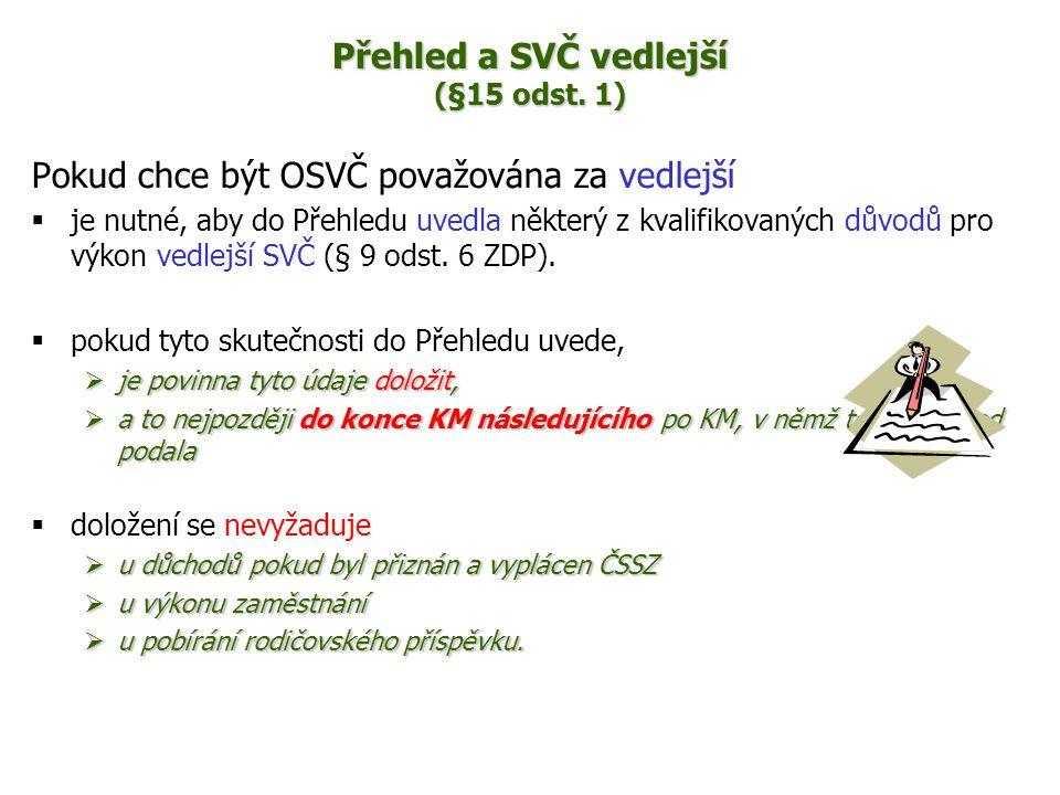 Přehled a SVČ vedlejší (§15 odst. 1)