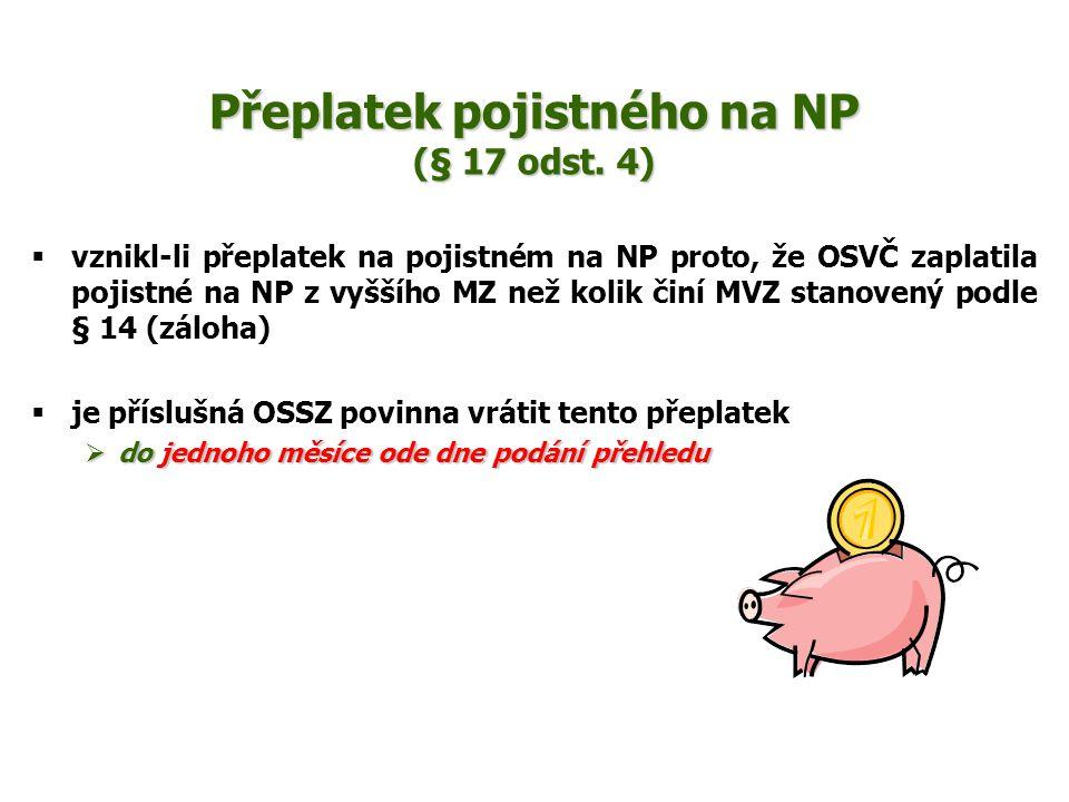 Přeplatek pojistného na NP (§ 17 odst. 4)