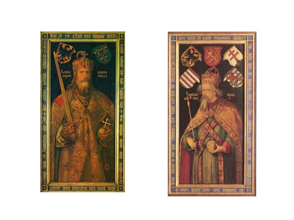 Vlevo obraz Karla Velikého, vpravo císař Zikmund