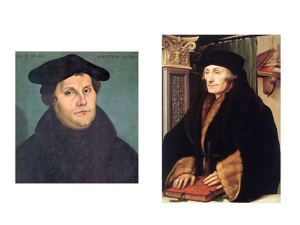 vlevo – Lucas Cranach st. – Martin Luther, vpravo Hans Holbein ml