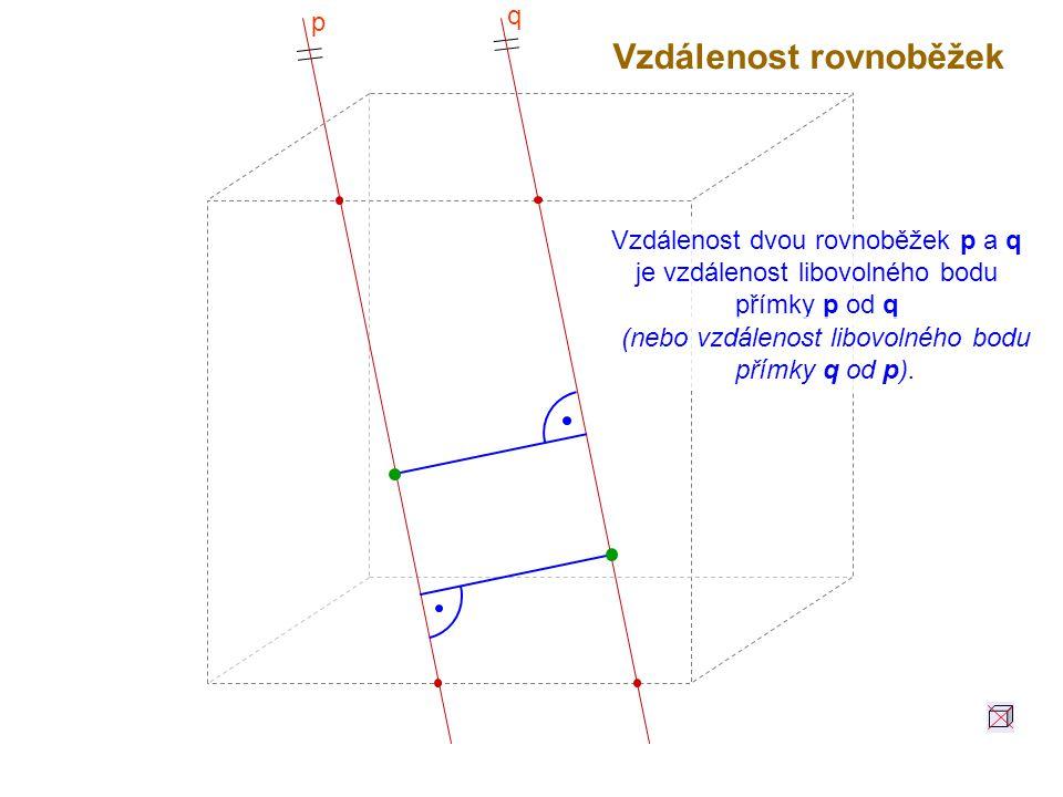 (nebo vzdálenost libovolného bodu přímky q od p).