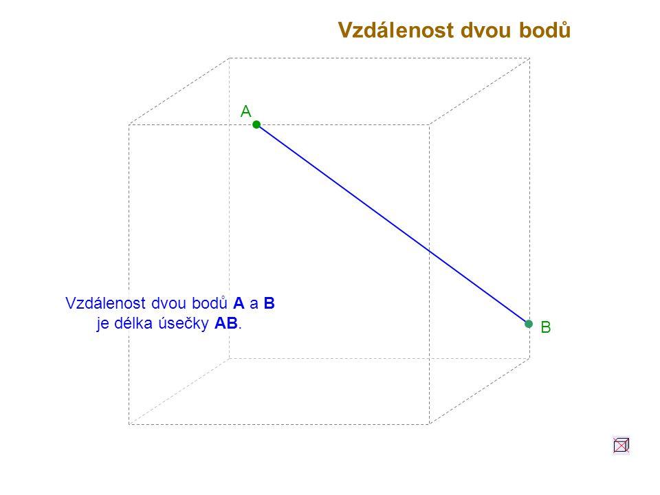 Vzdálenost dvou bodů A a B je délka úsečky AB.