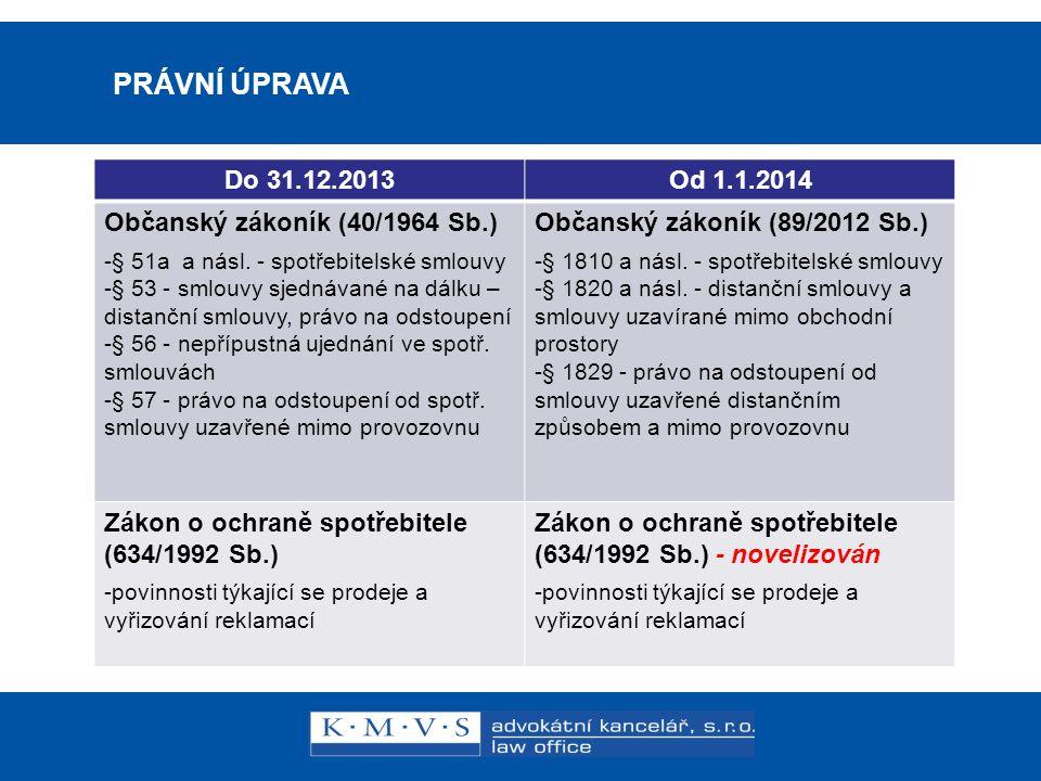 Reklamní právo v praxi PRÁVNÍ ÚPRAVA Do 31.12.2013 Od 1.1.2014
