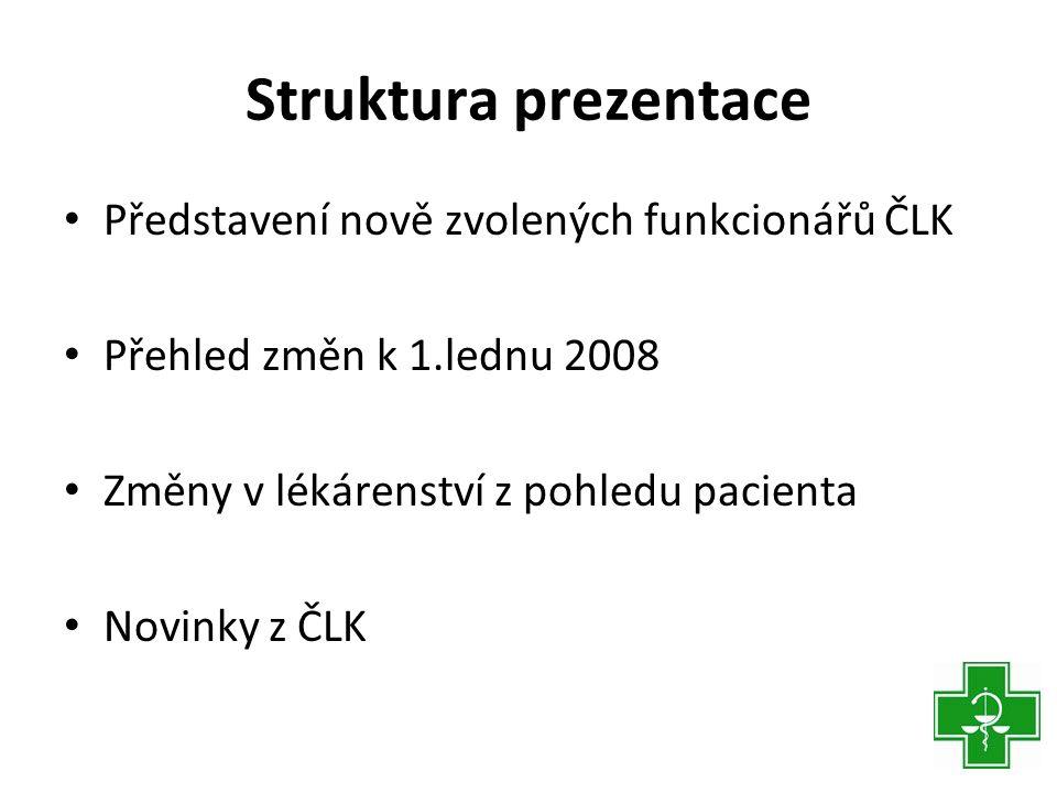 Struktura prezentace Představení nově zvolených funkcionářů ČLK