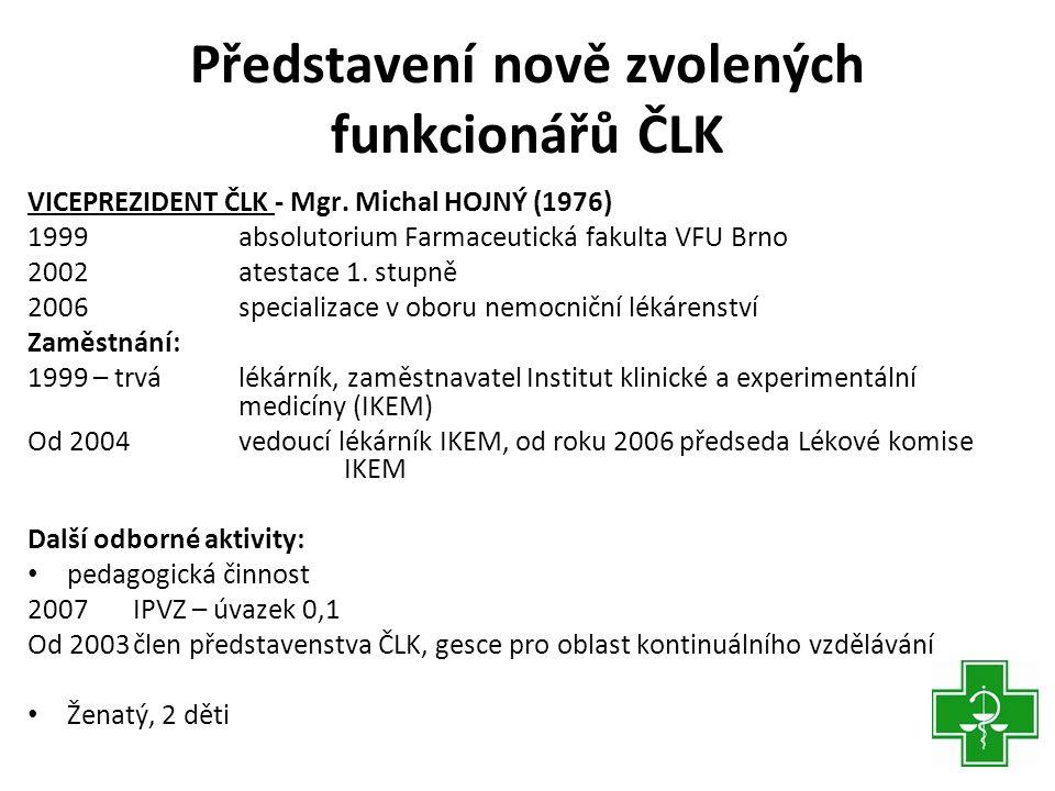 Představení nově zvolených funkcionářů ČLK