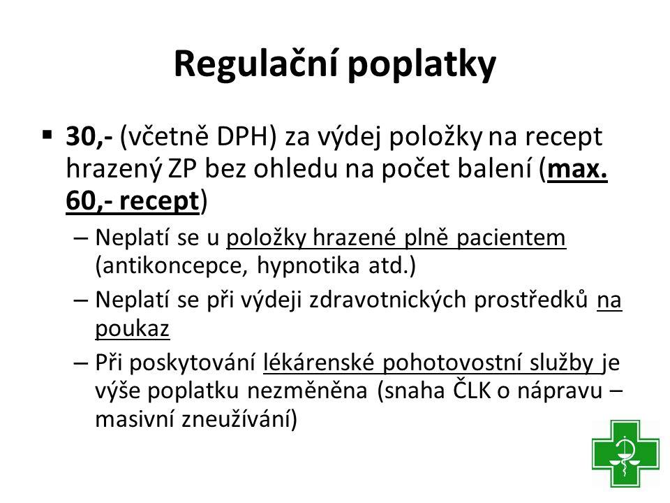 Regulační poplatky 30,- (včetně DPH) za výdej položky na recept hrazený ZP bez ohledu na počet balení (max. 60,- recept)