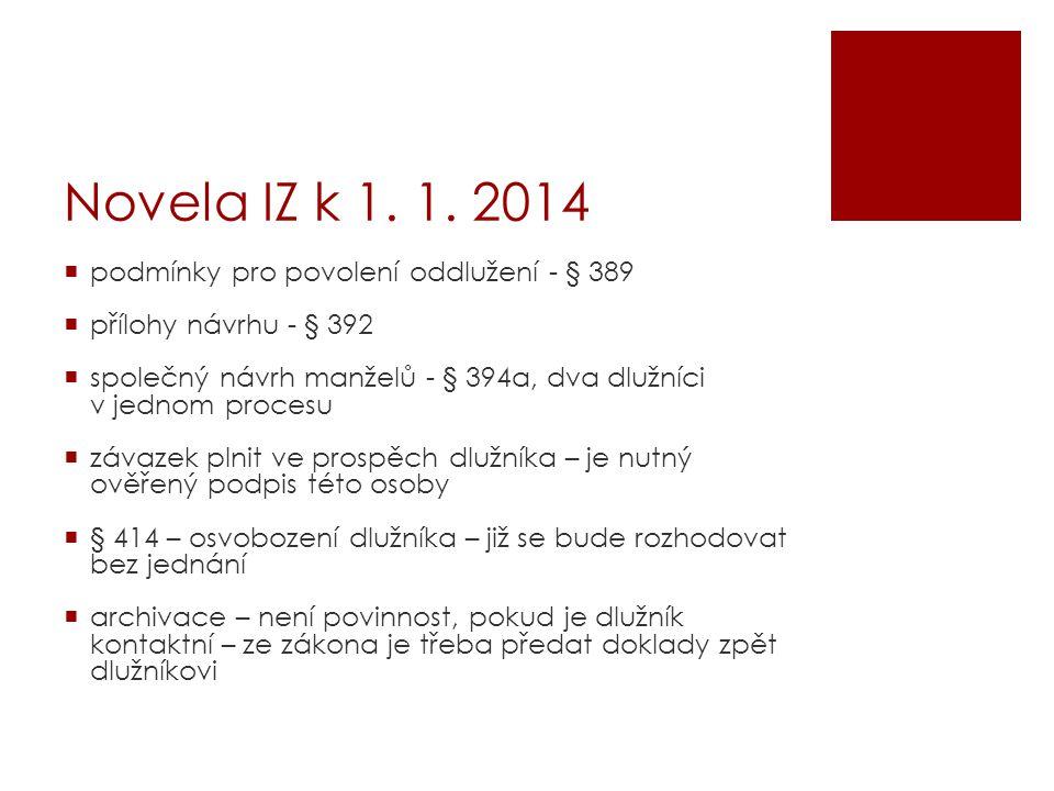 Novela IZ k 1. 1. 2014 podmínky pro povolení oddlužení - § 389