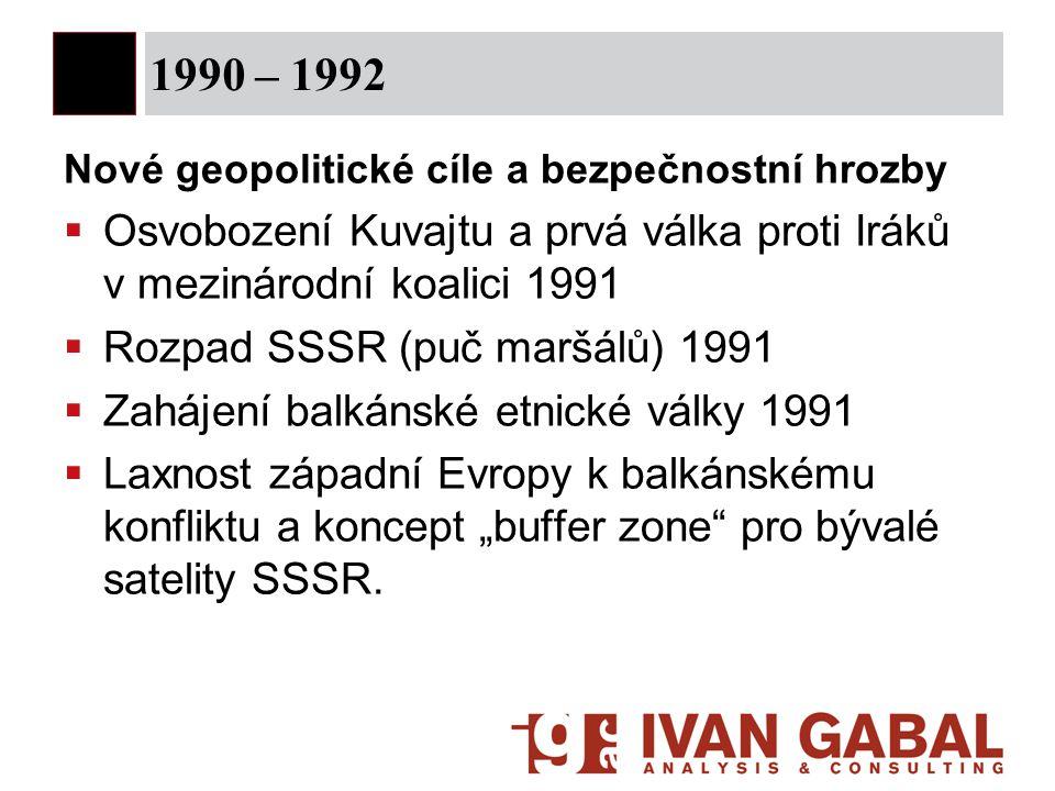 1990 – 1992 Nové geopolitické cíle a bezpečnostní hrozby. Osvobození Kuvajtu a prvá válka proti Iráků v mezinárodní koalici 1991.