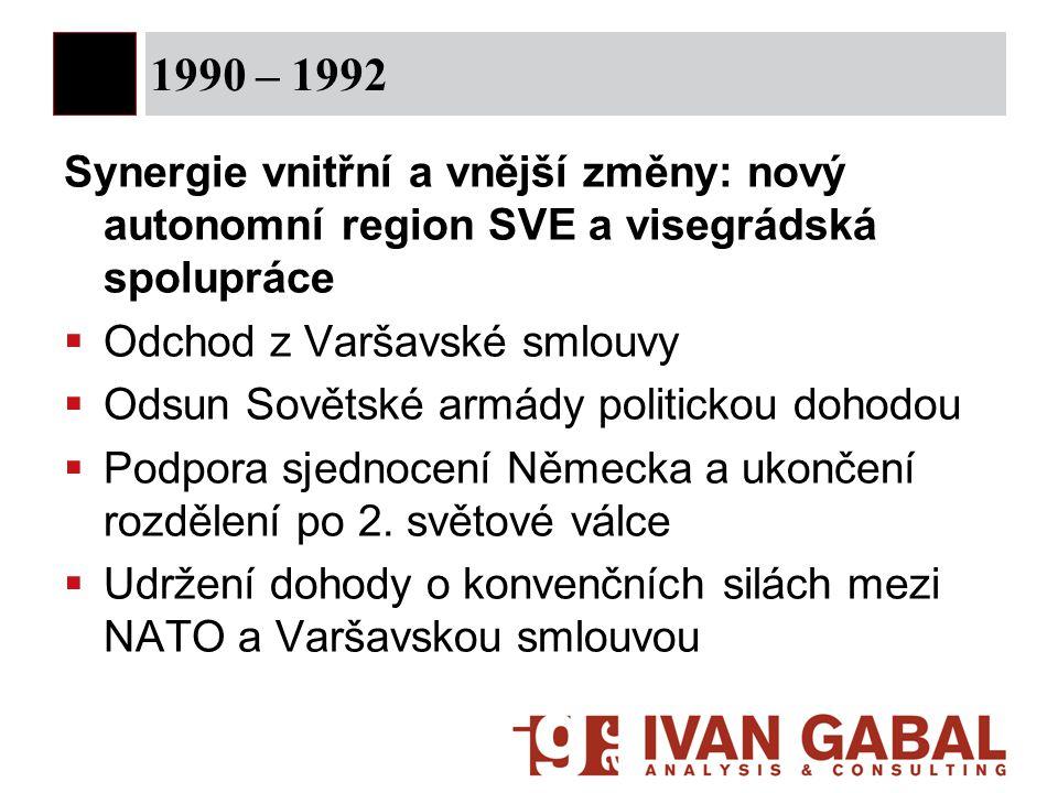 1990 – 1992 Synergie vnitřní a vnější změny: nový autonomní region SVE a visegrádská spolupráce. Odchod z Varšavské smlouvy.