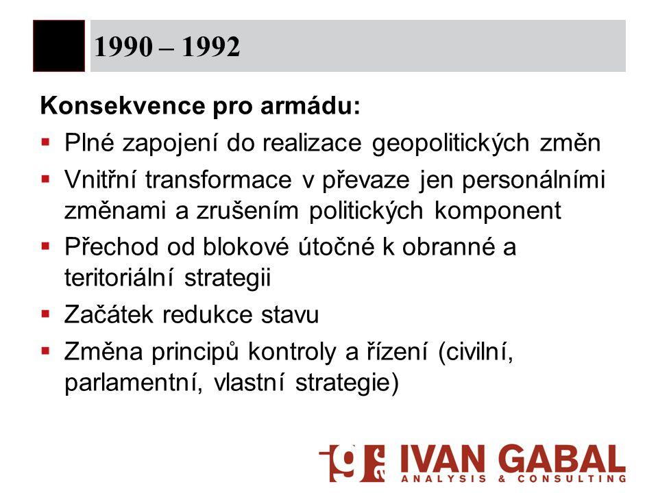 1990 – 1992 Konsekvence pro armádu: