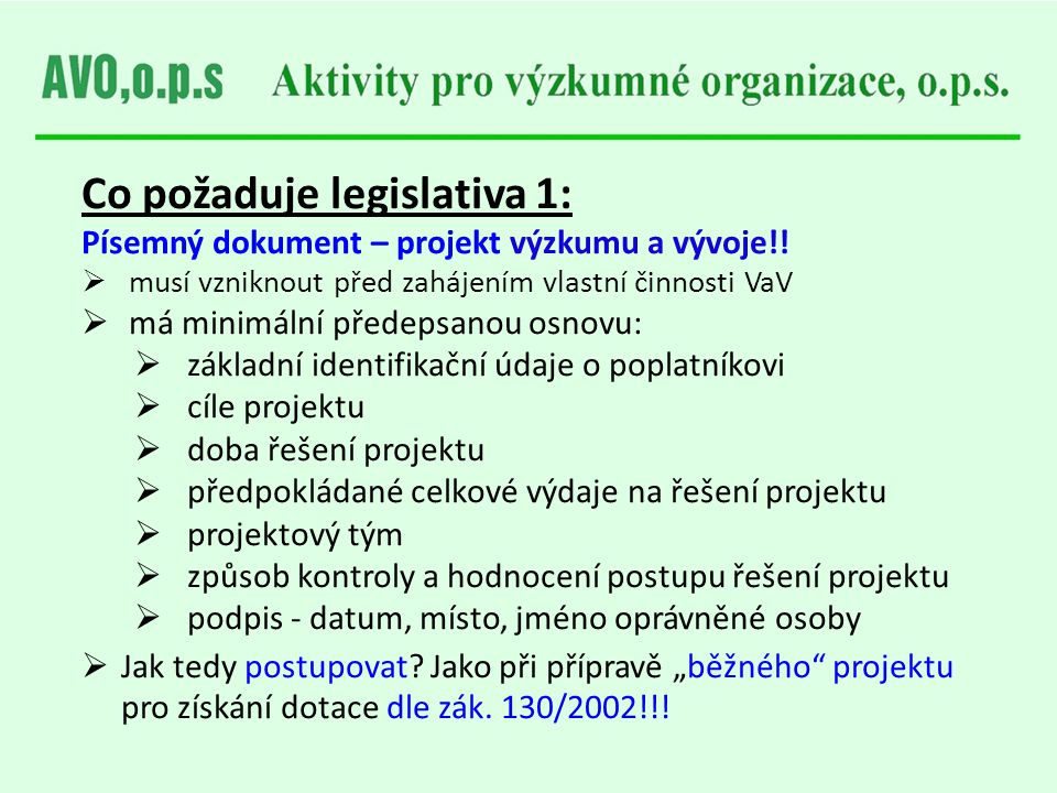 Co požaduje legislativa 1:
