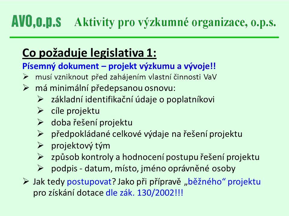 Co požaduje legislativa 1: