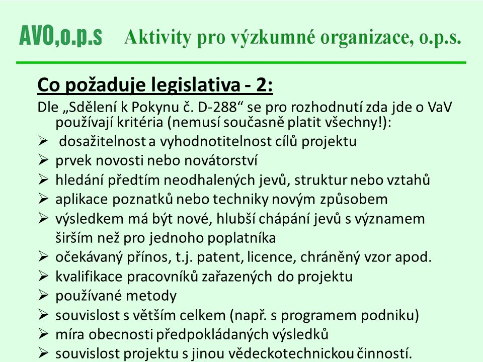 Co požaduje legislativa - 2: