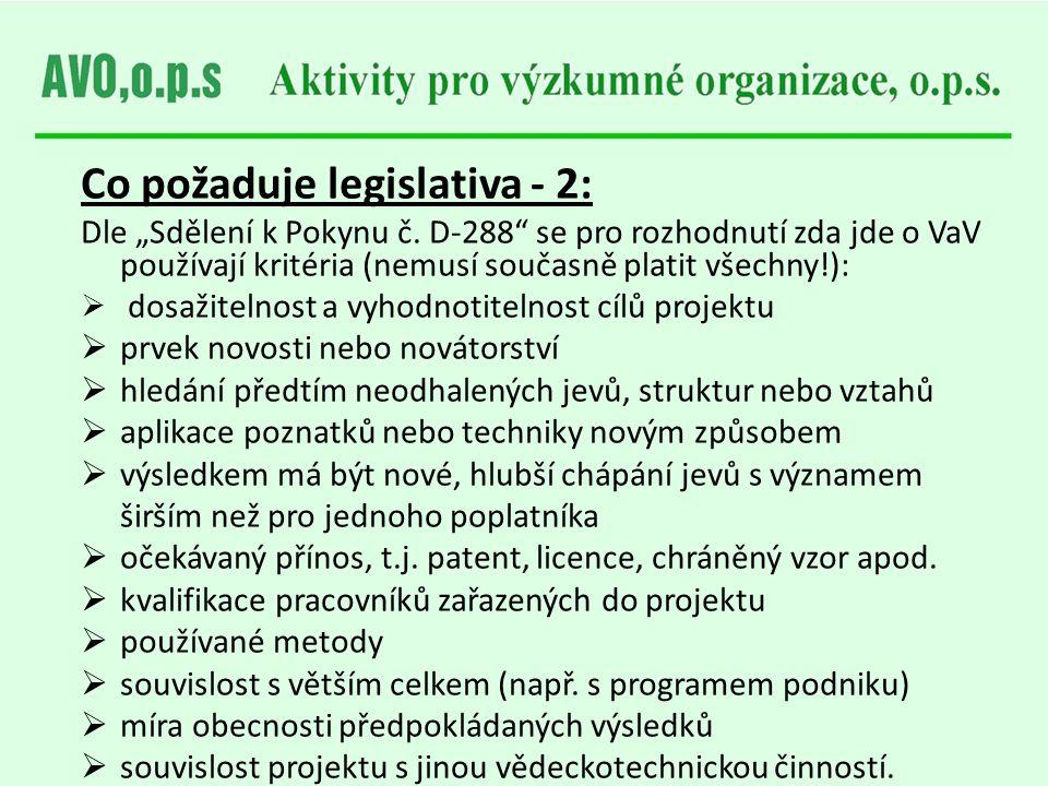 Co požaduje legislativa - 2: