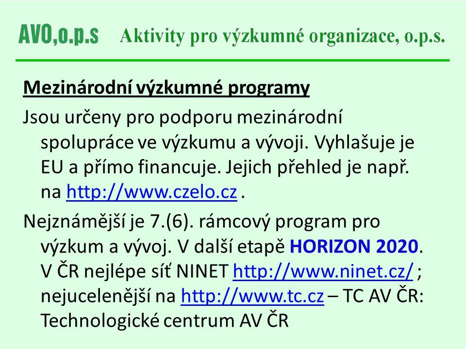 Mezinárodní výzkumné programy