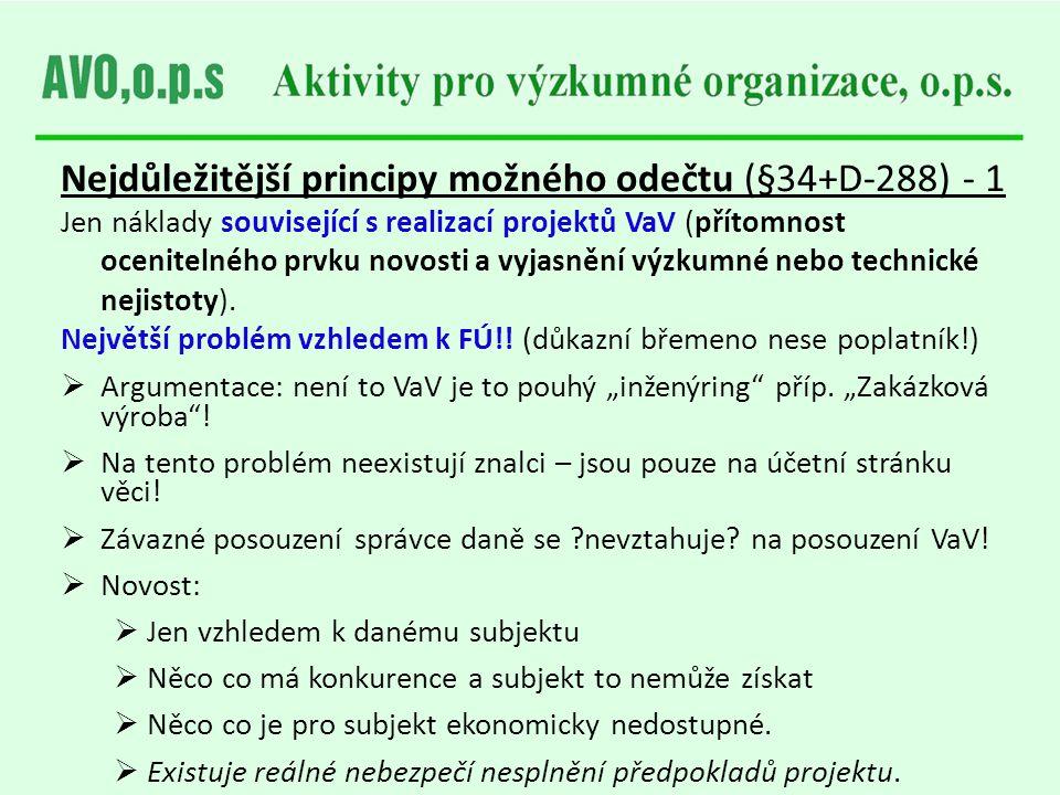 Nejdůležitější principy možného odečtu (§34+D-288) - 1