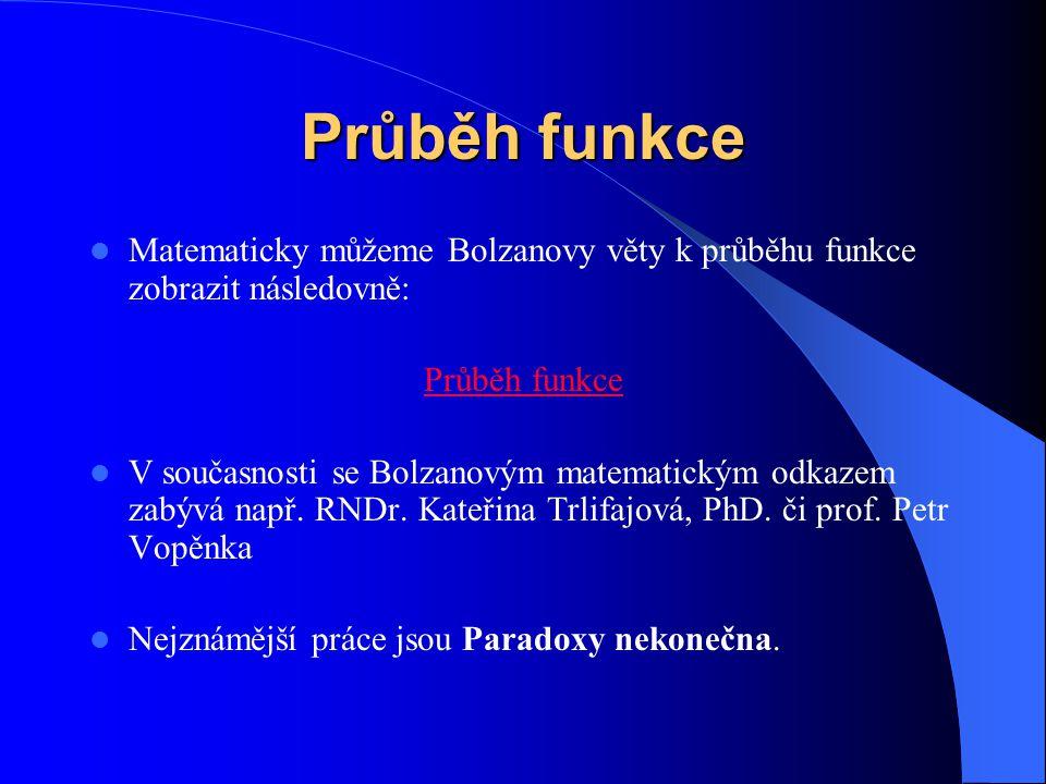 Průběh funkce Matematicky můžeme Bolzanovy věty k průběhu funkce zobrazit následovně: Průběh funkce.