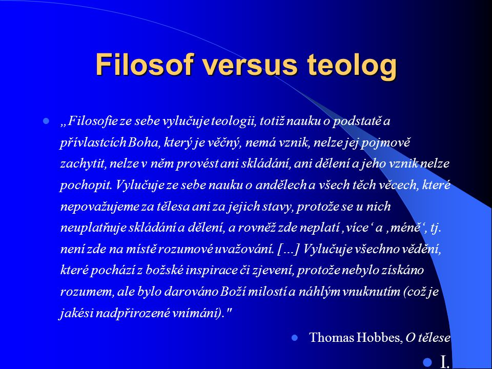 Filosof versus teolog I.