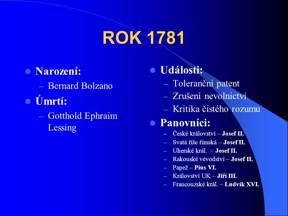 ROK 1781 Narození: Úmrtí: Události: Panovníci: Bernard Bolzano