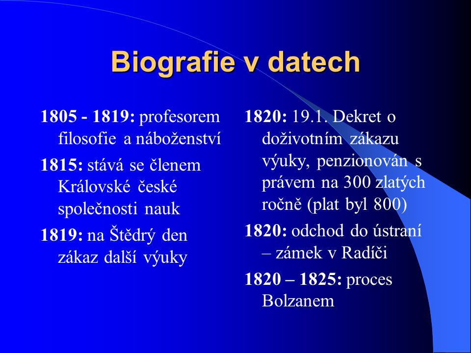 Biografie v datech 1805 - 1819: profesorem filosofie a náboženství
